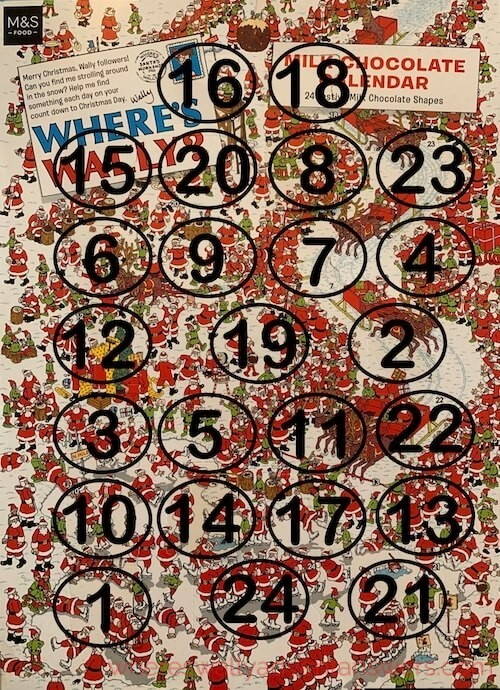 numbers over the wheres wally calnder showing where the door are